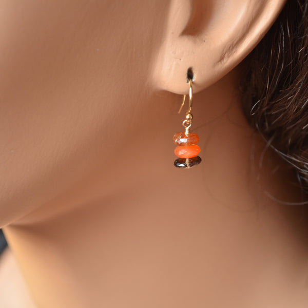 Smoky Quartz Earrings with Orange Gemstones