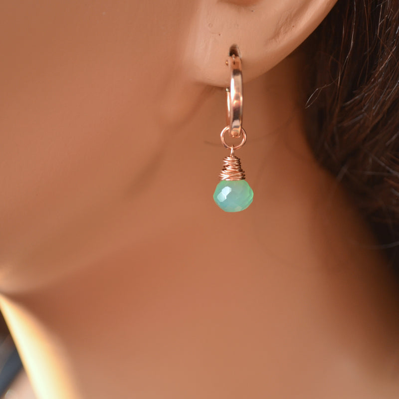 Rose Gold Hoops with Mint Green Gemstones