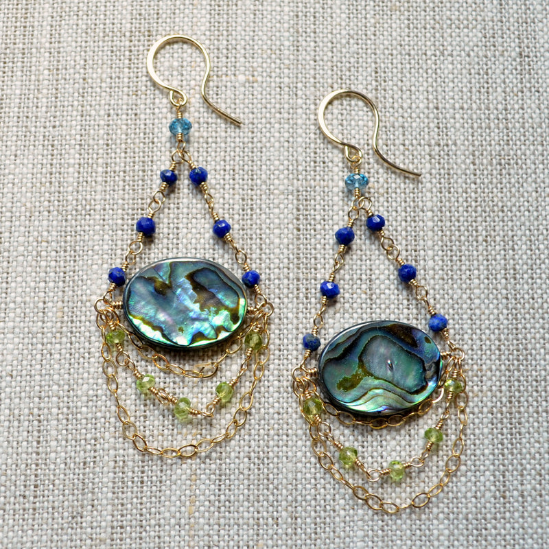 Gold Chandelier Earrings with Abalone