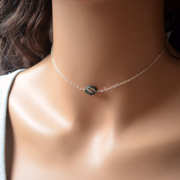 Dainty Abalone Choker Necklace
