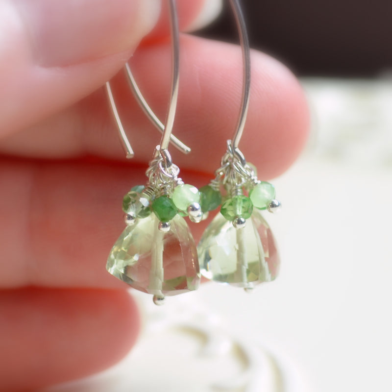 Long Green Amethyst Earrings in Sterling Silver