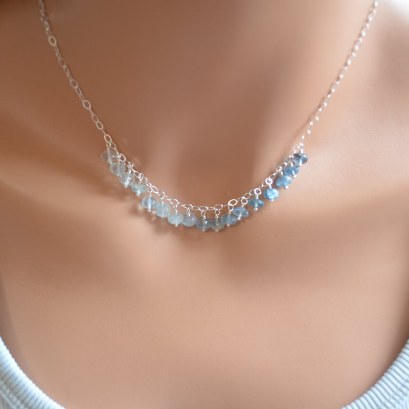 Blue Aquamarine Necklace in Sterling Silver with Ombre Pattern