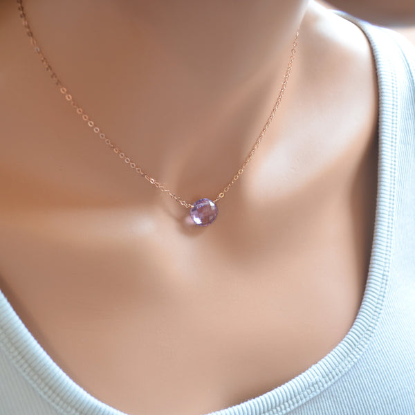 Light Amethyst Necklace with Coin Shaped Bead in Rose Gold