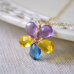 Amethyst Flower Necklace with Yellow and Navy Quartz