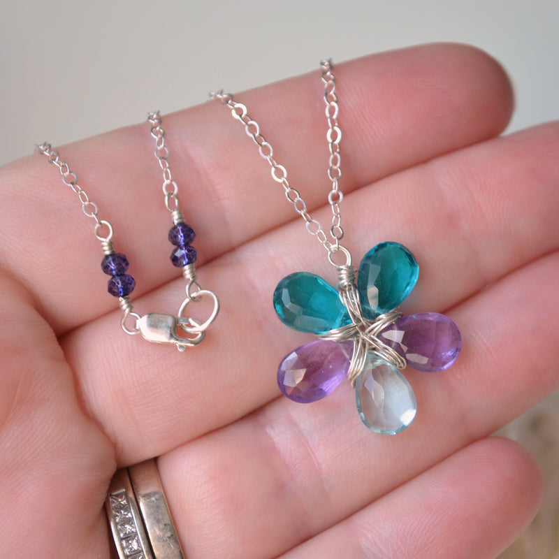 Teal Flower Necklace with Amethyst and Quartz