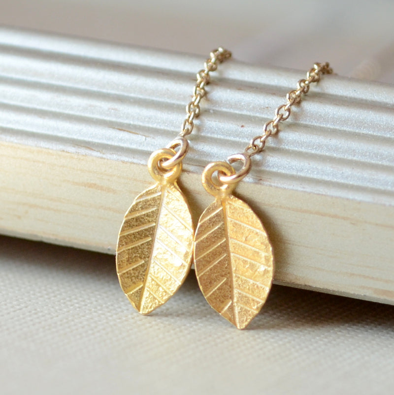 Gold Leaf Threader Earrings