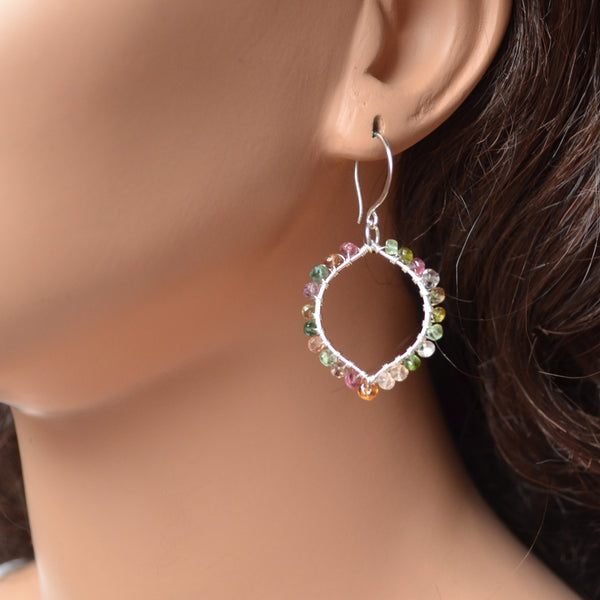 Tourmaline Wire Wrapped Earrings in Silver