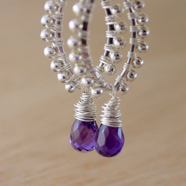 Amethyst Earrings with Wire Wrapped Marquise