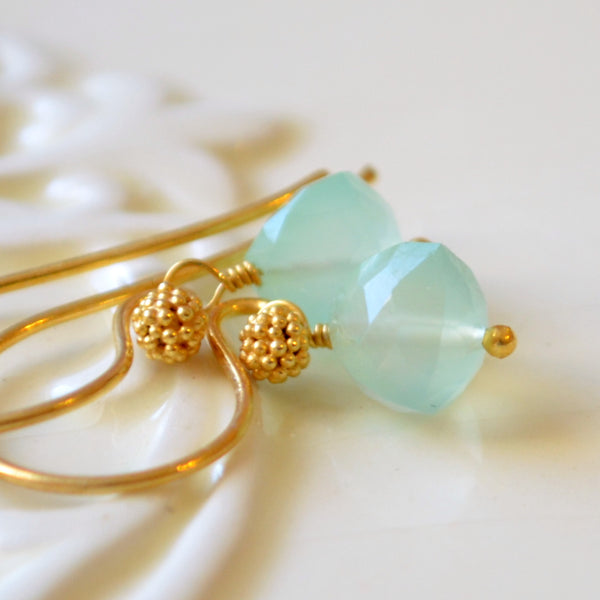 Mint Green Chalcedony Earrings in Gold