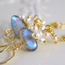 Labradorite Earrings with Tiny White Freshwater Pearls