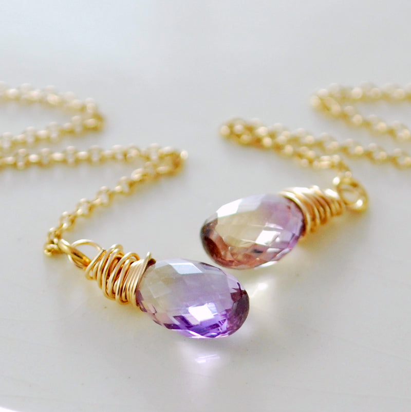Ametrine Threader Earrings in Gold or Silver
