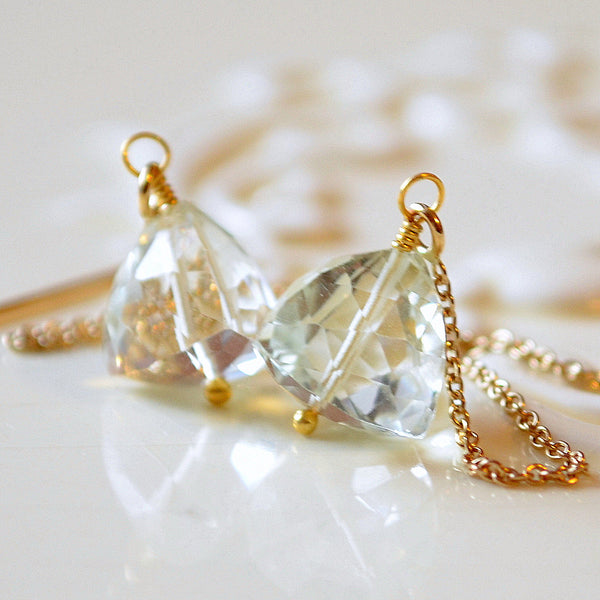 Green Amethyst Threader Earrings in Silver or Gold