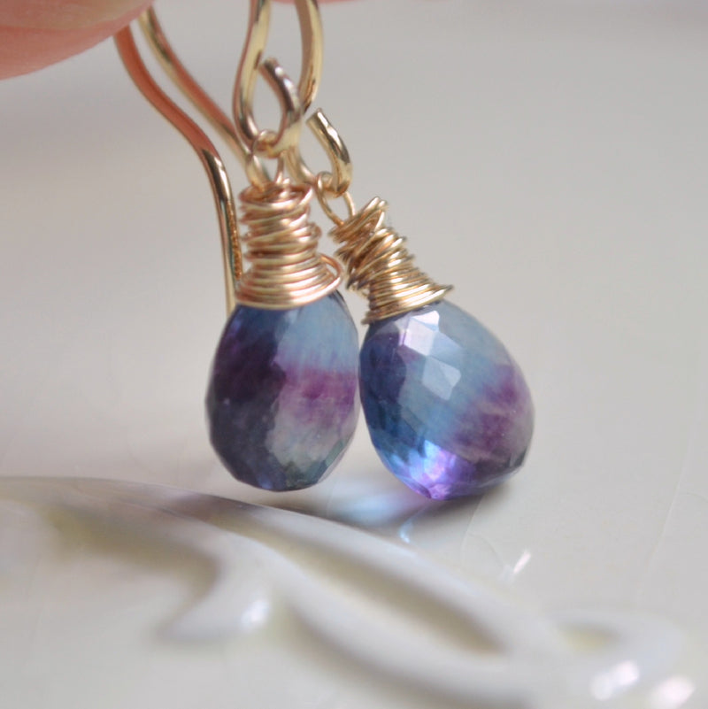 Teal Fluorite Earrings with Purple