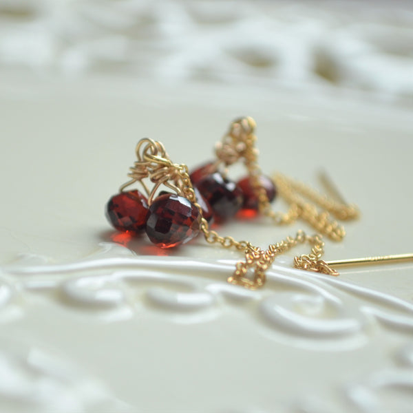 Garnet Threader Earrings in Gold