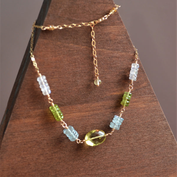 Gemstone Choker Necklace with Lemon Quartz Peridot Aquamarine and Moonstone
