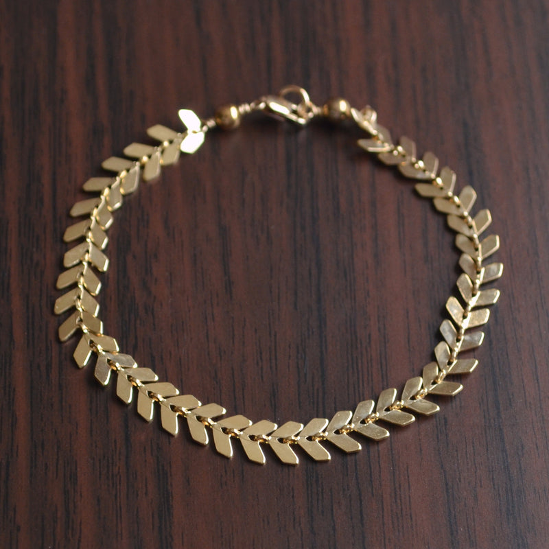Gold or Silver Chevron Bracelet