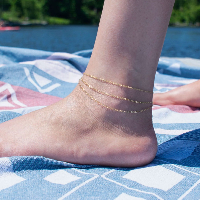 Triple Strand Anklet in Gold or Silver