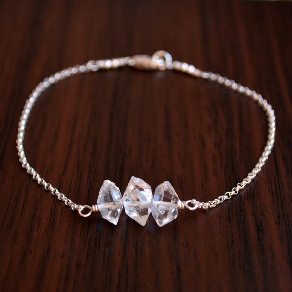Herkimer Diamond Bracelet in Sterling Silver