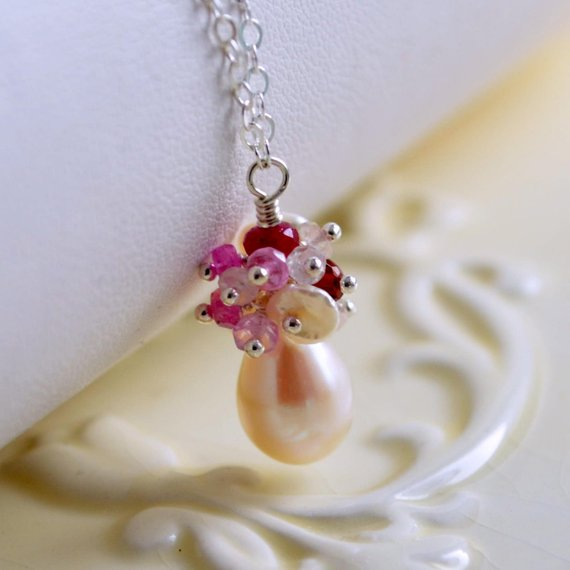 Pearl Bridal Necklace with Rubies - Pearl Blush