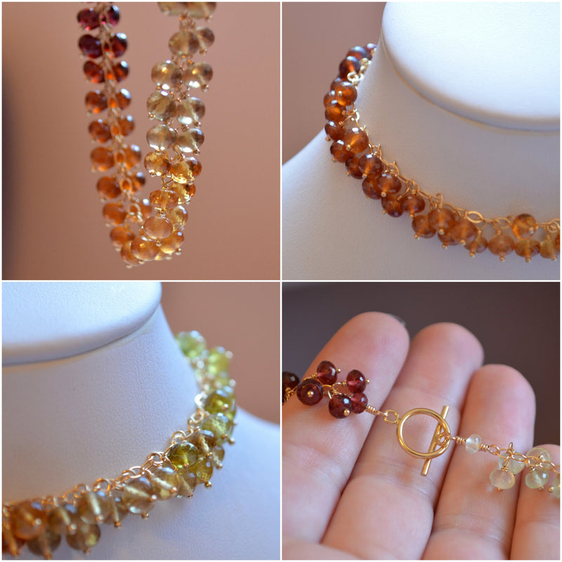 Gemstone Cluster Bracelet for Autumn Brides - Fall Cluster