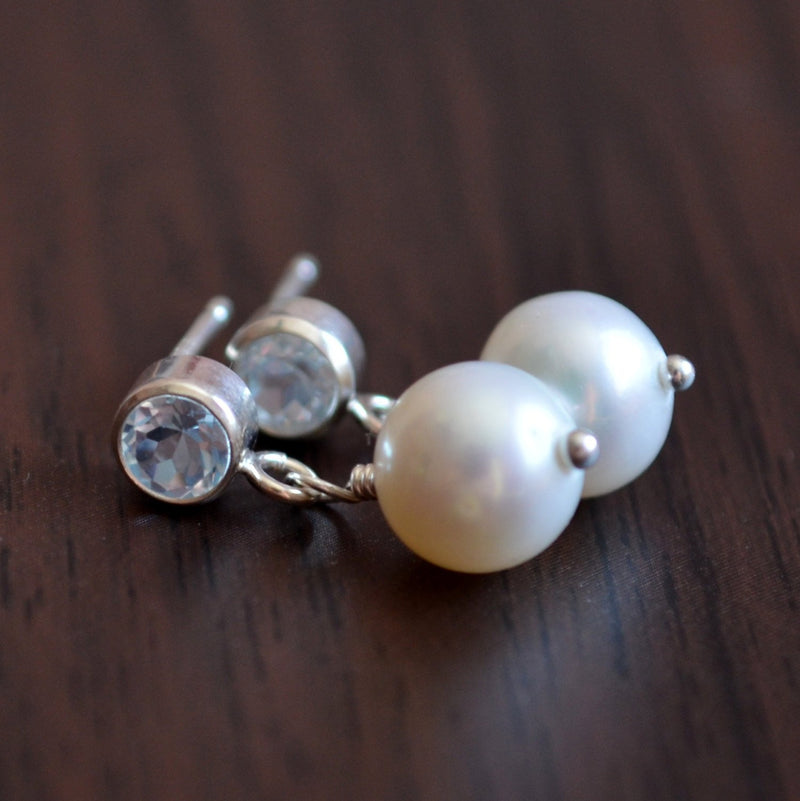 Pearl Drop Earrings with Blue Topaz