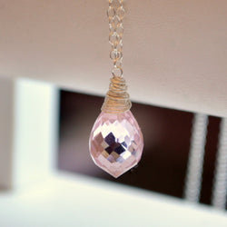 Blush Pink Necklace with Morganite Quartz