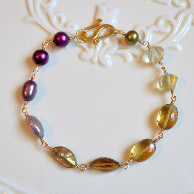 Plum and Olive Green Bracelet in Gold - Changing Orchard