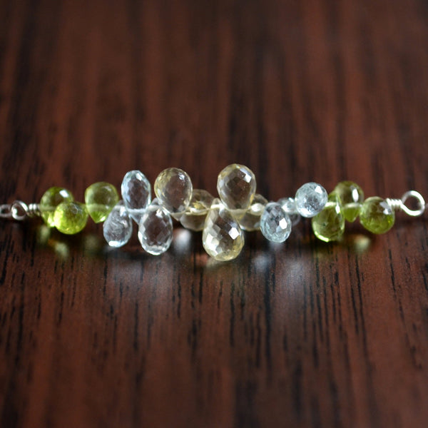Gemstone Necklace with Peridot Aquamarine Lemon Quartz Stones