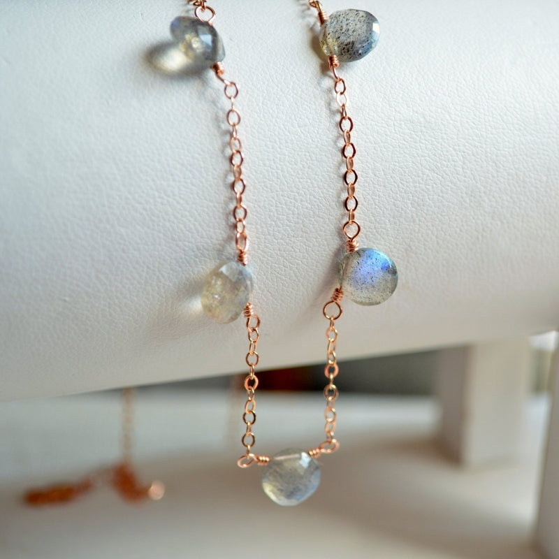 Labradorite Necklace on a Rose Gold Chain