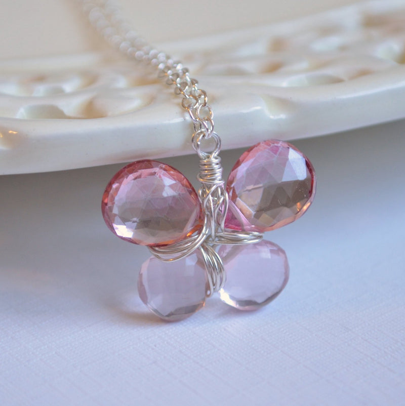 Butterfly Necklace with Pink Gemstones