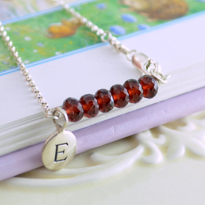 Garnet Bracelet for Tween Girls with Initial Charm