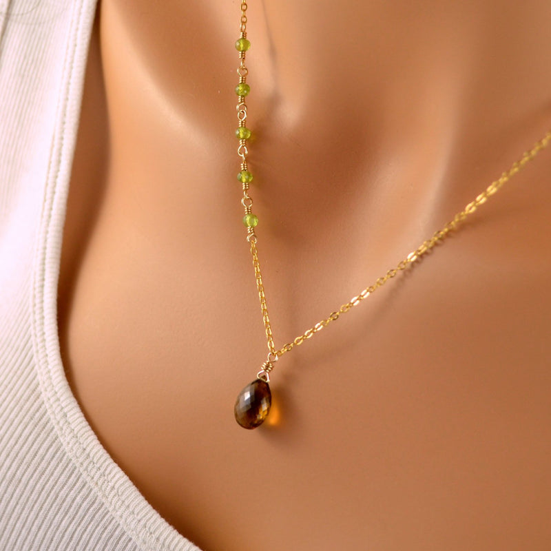 Gemstone Necklace, Beer Quartz, and Olive Green Vesuvianite