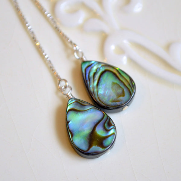 Abalone Threader Earrings with Paua Shell