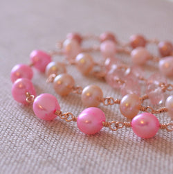 Pink Pearl Necklace with Pink Topaz