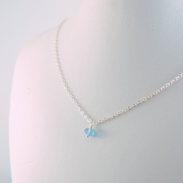 Dainty Swiss Blue Topaz Necklace