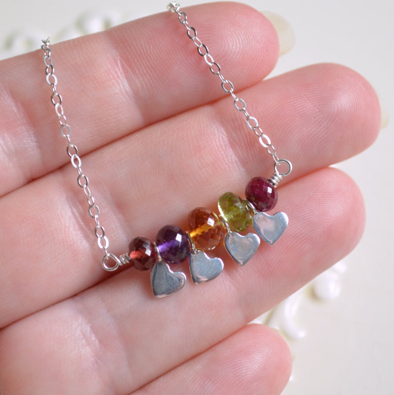Family Necklace in Sterling Silver with Real Gemstones