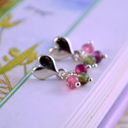 Pink and Green Tourmaline Earrings for Girls
