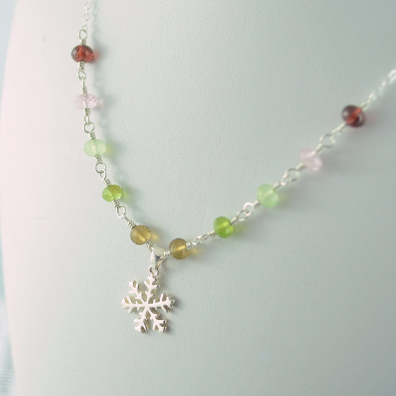 Snowflake Necklace for Girls with Gemstones