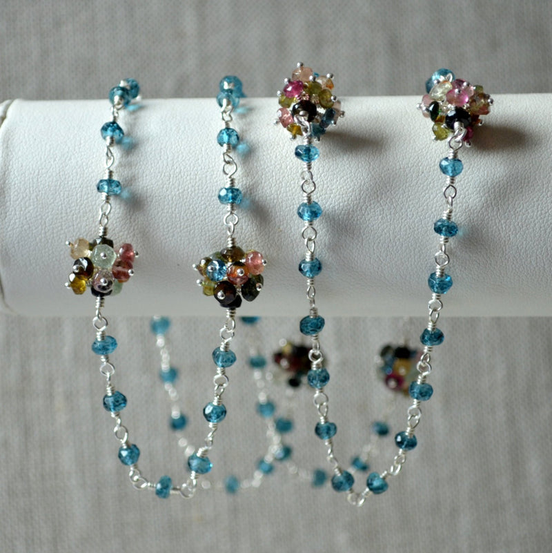 Long Gemstone Necklace with  Real Tourmaline and Teal London Blue Topaz