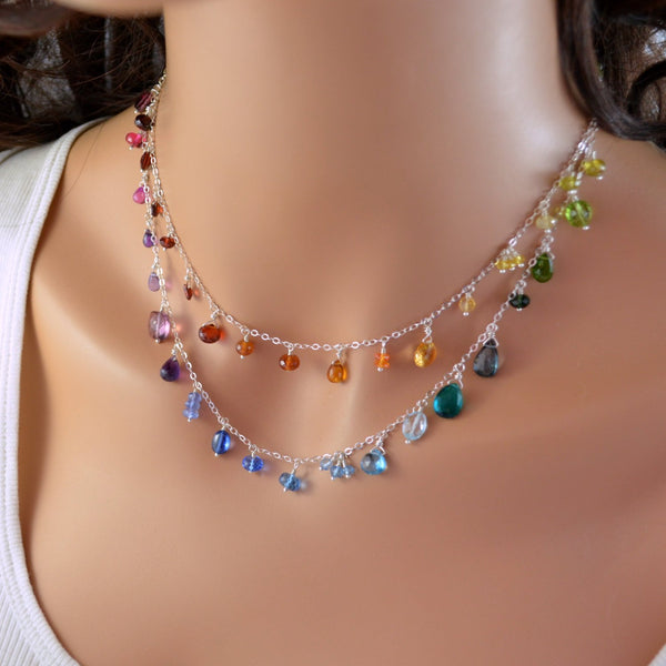 Rainbow Wedding Necklace in Sterling Silver - Double Rainbow