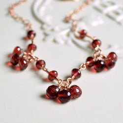 Garnet Choker Necklace with January Birthstone