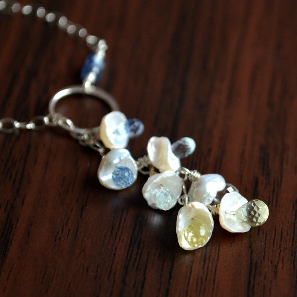 Sterling Silver Lariat Necklace with White Keishi Pearl
