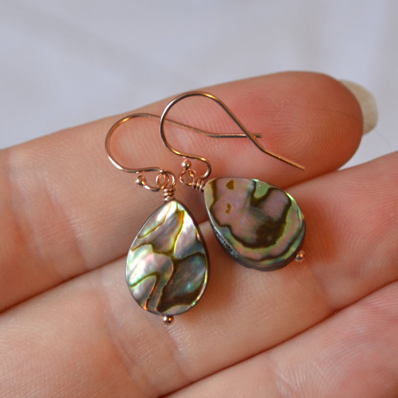 Abalone Earrings, Rose Gold Filled with Paua Shell