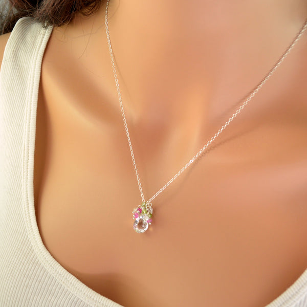 Spring Bridal Necklace with Crystal Quartz Peridot and Pink Sapphire - Spring Thaw