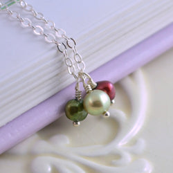 Red and Green Freshwater Pearl Necklace for Christmas