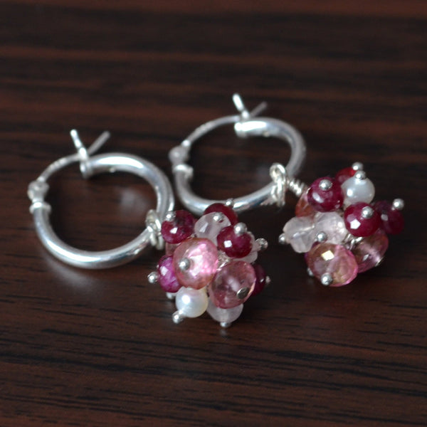 Valentine's Day Earrings with Pink Topaz and Ruby Clusters
