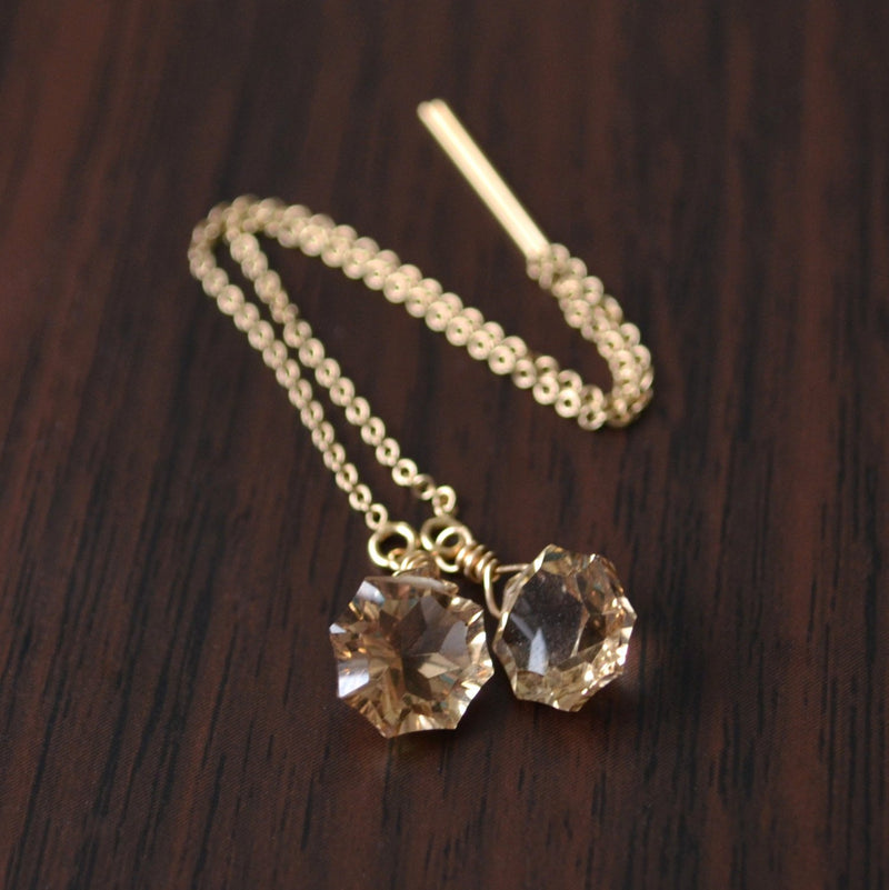 Champagne Quartz Threader Earrings