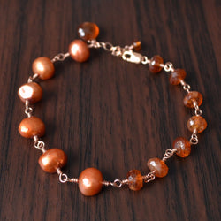 Burnt Orange Bracelet, Hessonite Garnet Gemstone and Freshwater Pearl