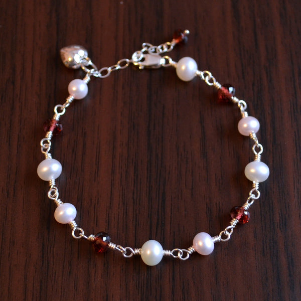 Valentines Day Bracelet for Girls with Pearls and Garnets