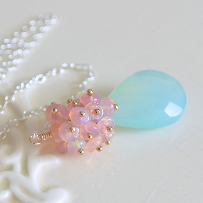 Pink Opal Necklace with Large Aqua Chalcedony